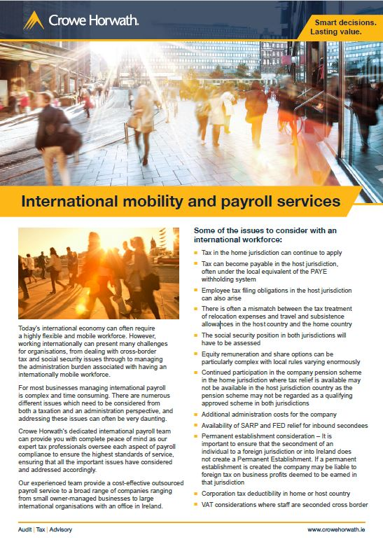 International mobility and payroll services - Crowe Horwath Ireland