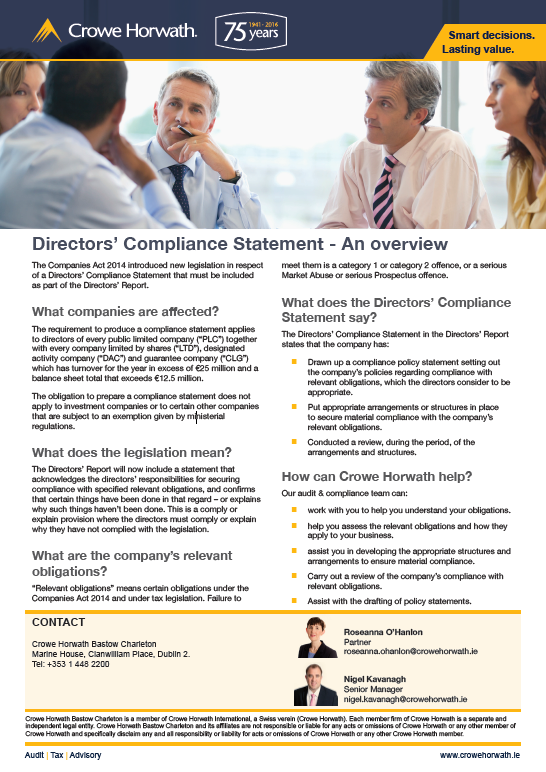 Directors compliance statement factsheet Crowe Horwath