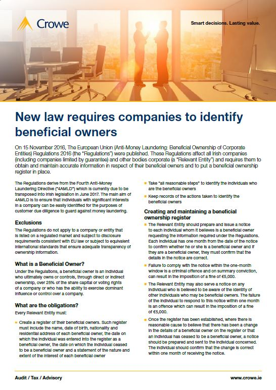 New law requires companies to identify beneficial owners - Crowe Ireland
