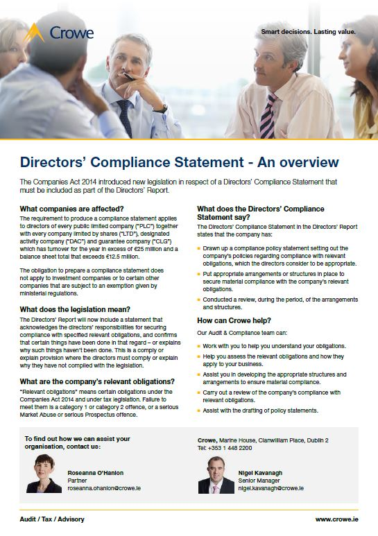 Directors compliance statement - Crowe Ireland