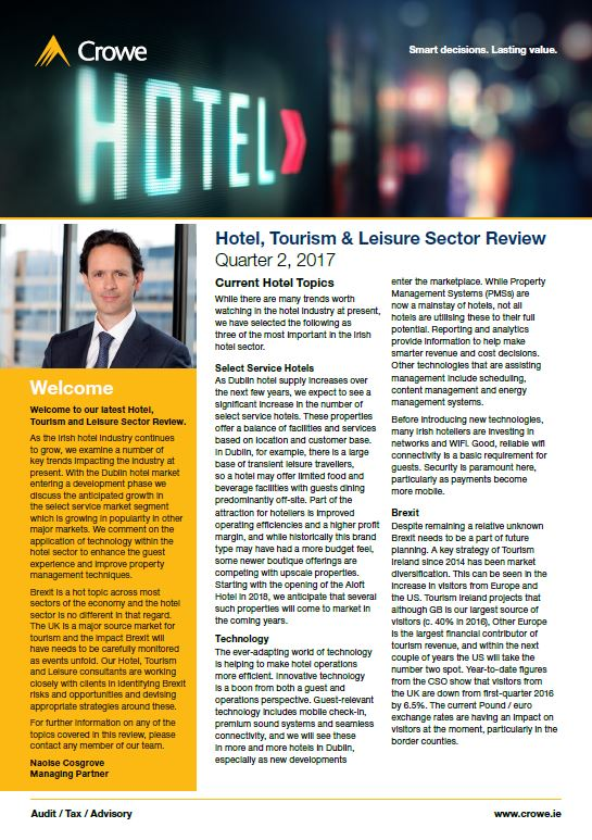 Hotel, Tourism & Leisure Sector Review Quarter 2, 2017 - Crowe Ireland