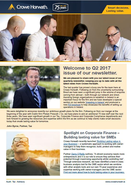 Crowe Horwath Newsletter Q2 2017