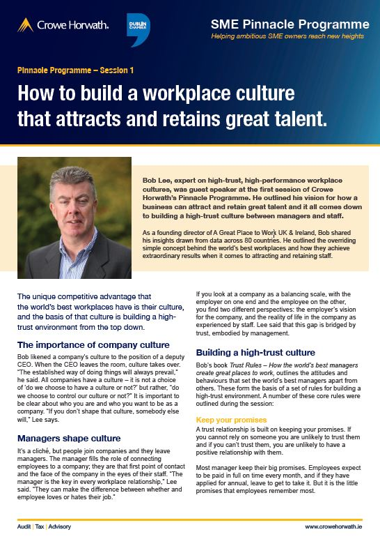 Attracting and retaining top talent - Crowe Horwath Ireland