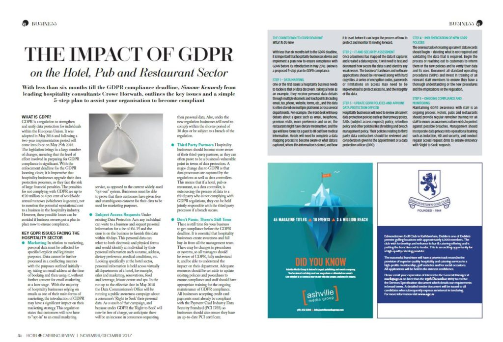 The impact of GDPR on hotel, Pub and Restaurant Sector - Crowe Ireland