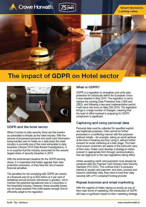 The impact of GDPR on the hotel sector - Crowe horwath Ireland