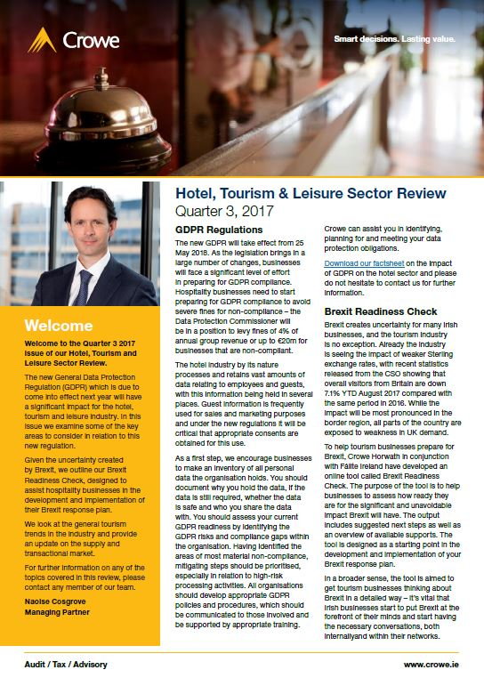 Hotel, Tourism & Leisure Sector Review Quarter 3, 2017 - Crowe Ireland