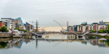 View of Samuel Beckett Bridge in Dublin, Ireland