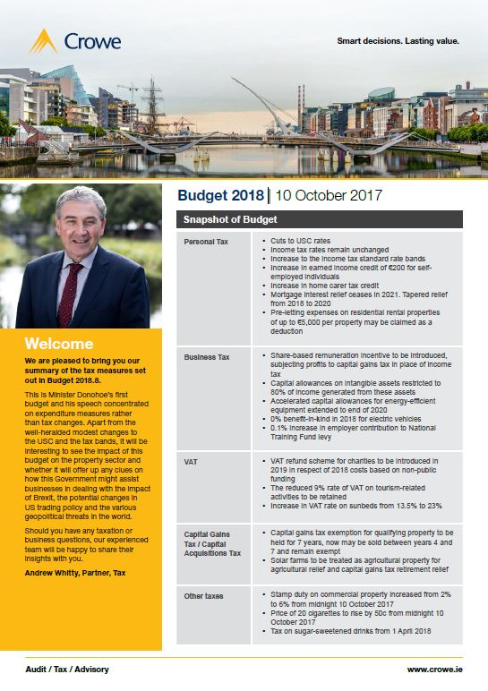 Budget 2018 Highlights - Crowe IIreland