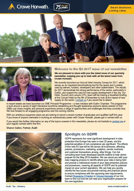 Q3 2017 newsletter - Crowe Horwath Ireland