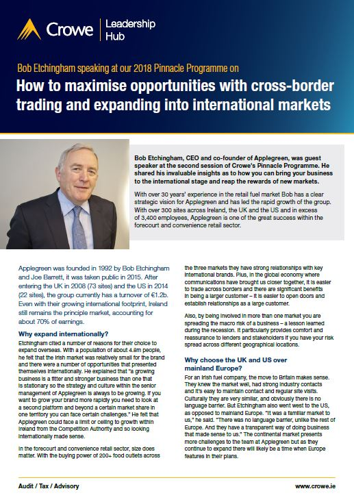 Bob Etchingham on expanding overseas - Crowe Ireland