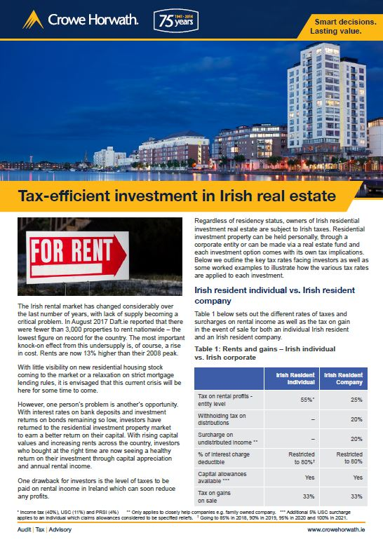 Tax-efficient investment in irish real estate - Crowe Horwath