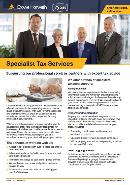 Outsourced specialist tax services for professional service firms