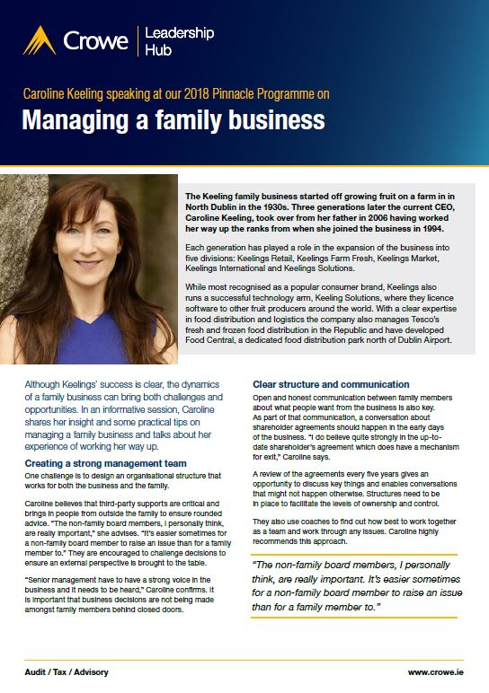 Caroline Keeling on managing a family business - Crowe Ireland
