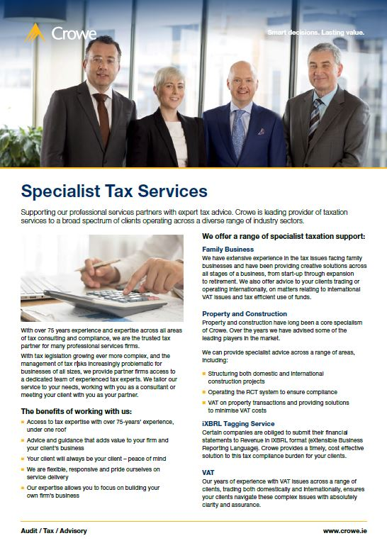 specialist tax services - Crowe Ireland