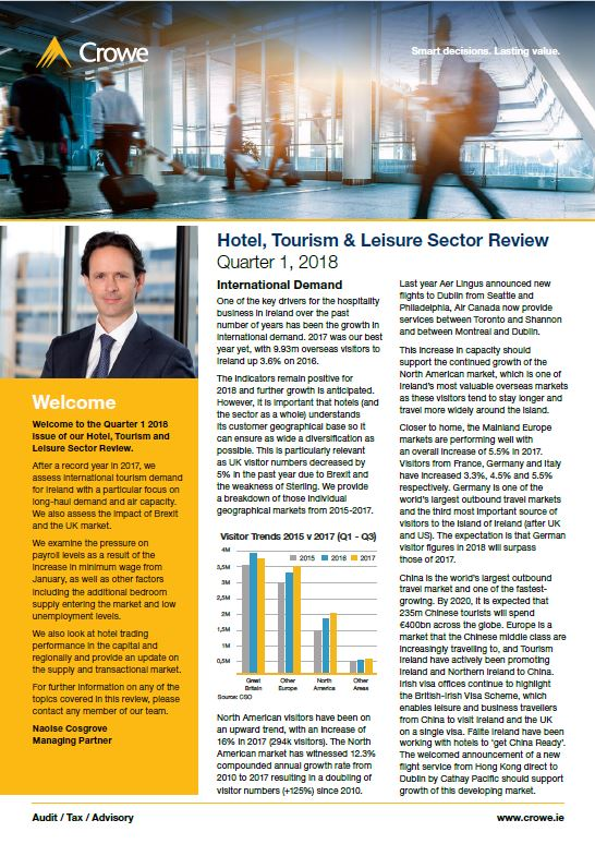 Hotel, Tourism & Leisure Sector Review Quarter 1, 2018 - Crowe Ireland