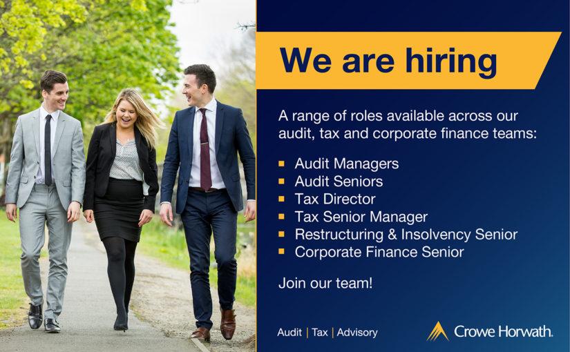 Audit, Tax & Corporate Fiaance Job vacancies - Crowe Horwath Ireland 2018