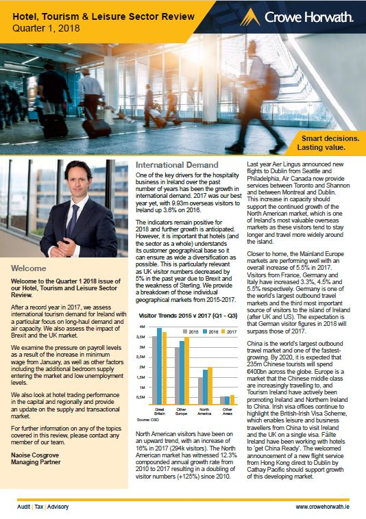 Q1 2018 Hotel, Tourism &Leisure Sector Review - Crowe Horwath Ireland