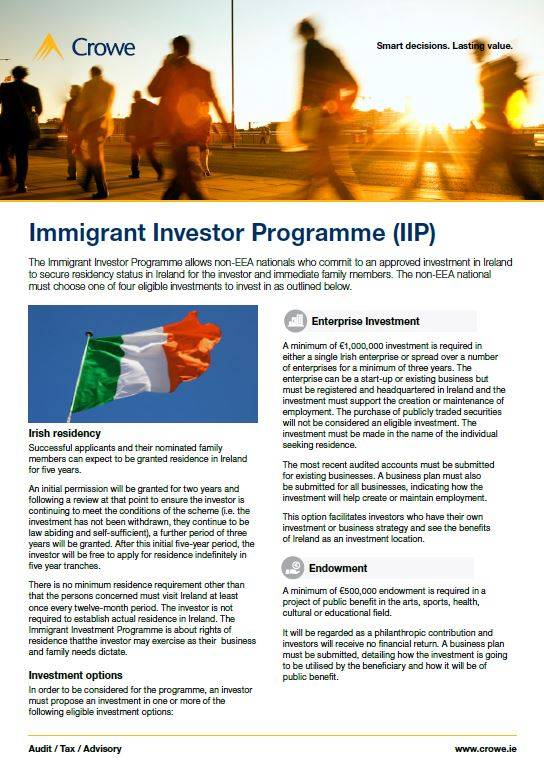 Immigrant investor programme - Crowe Ireland