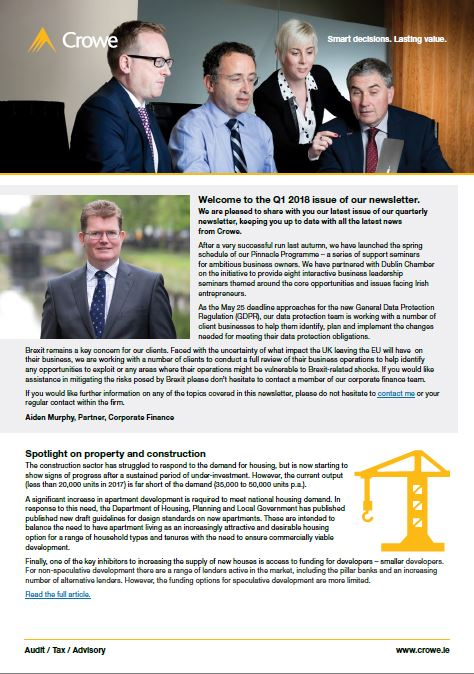 Q1 2018 firm newsletter - Crowe Ireland
