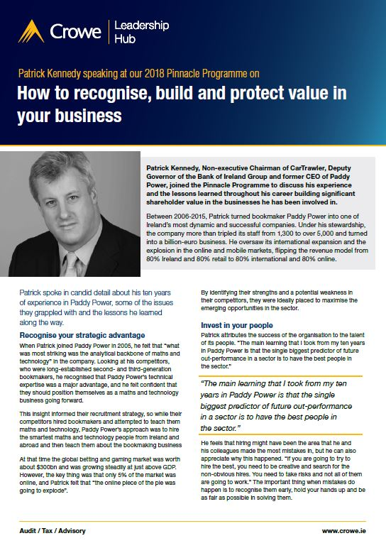 Patrick Kennedy on building value in your business - Crowe Ireland