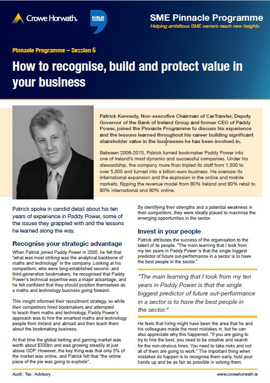 How to recognise, build and protect value in your business - Crowe Horwath Ireland
