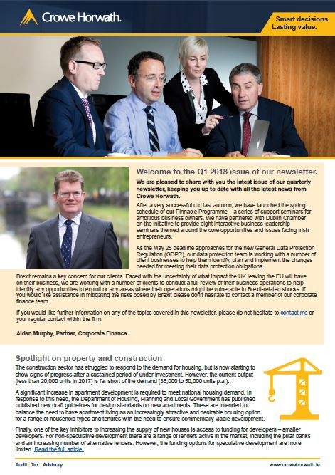 Q1 2018 Crowe Horwath Ireland Newsletter