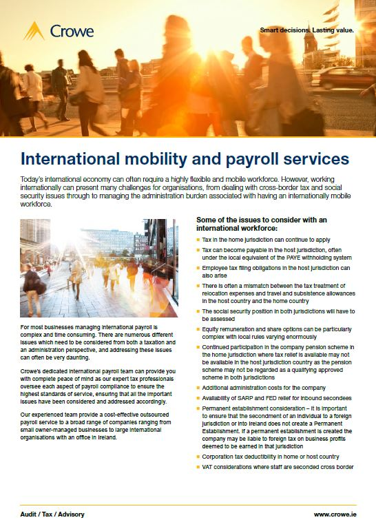 International Mobility and Payroll Services - Crowe Ireland