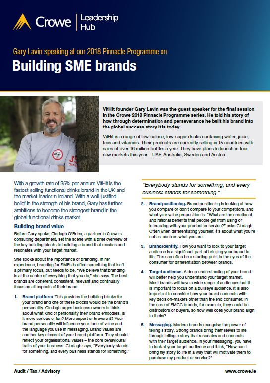 Gary Lavin on building SME brands - Crowe Ireland