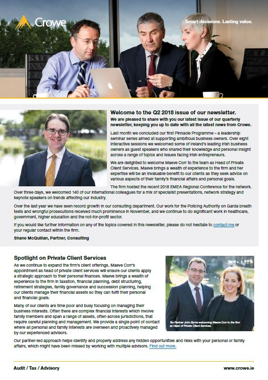 Q2 2018 firm newsletter - Crowe Ireland