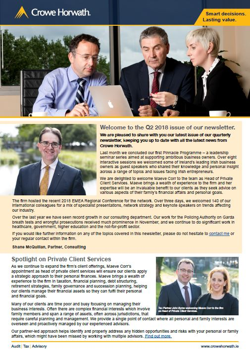Crowe Horwath newsletter Q2 2018
