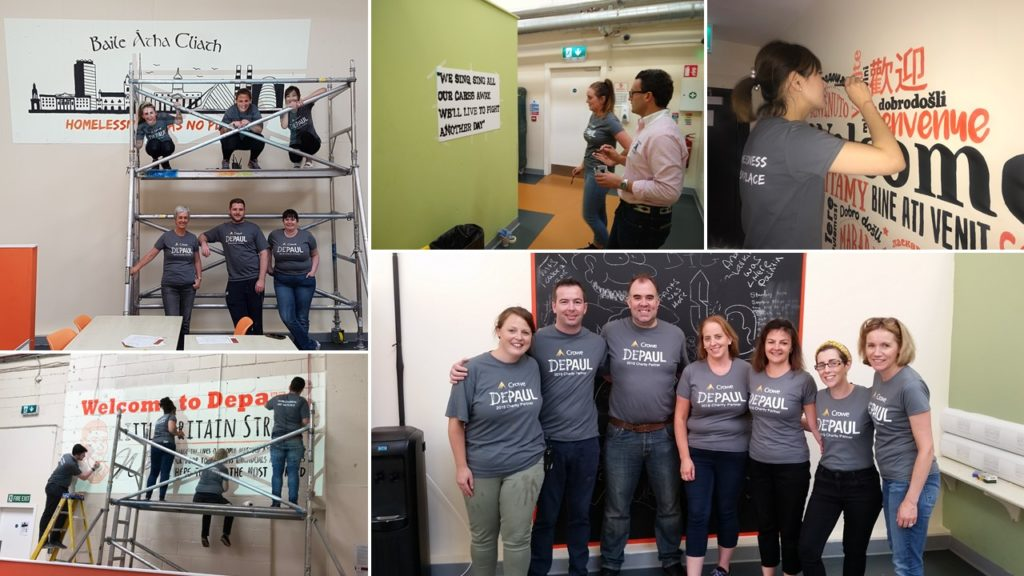 Crowe Ireland staff volunteering for Depaul Ireland