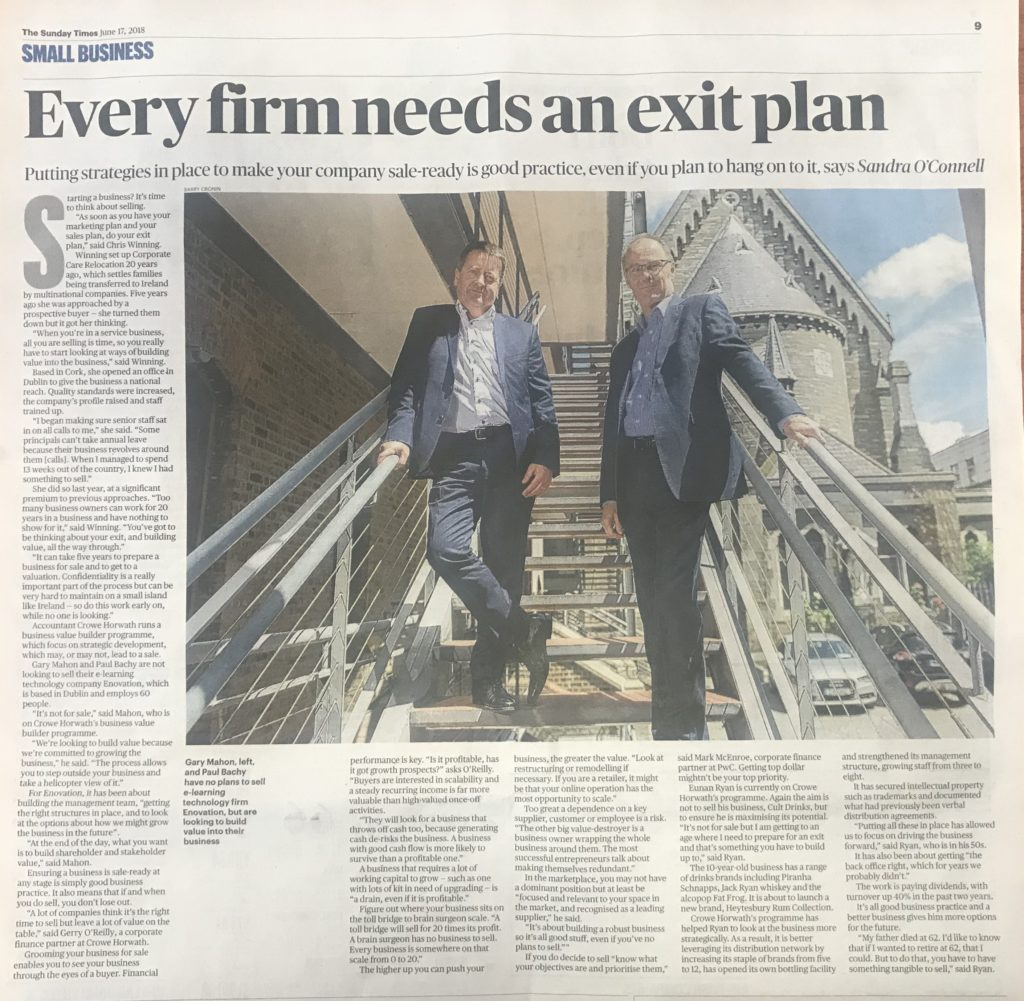 Every business needs an exit plan - Crowe Ireland