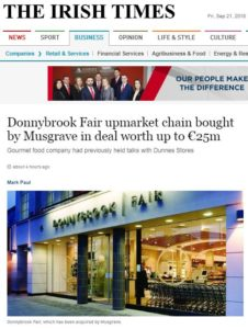 Crowe Ireland assist in sale of Donnybrook fair to Musgrave Group
