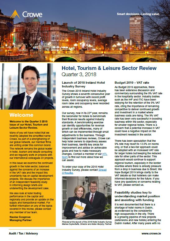 Hotel, Tourism and Leisure Sector Review – Q2 2018 - Crowe Ireland