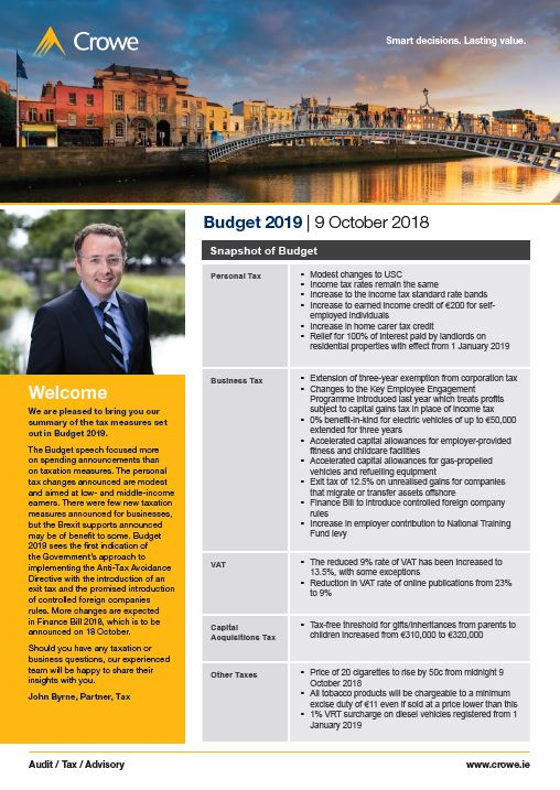 Budget 2019 Highlights - Crowe Ireland