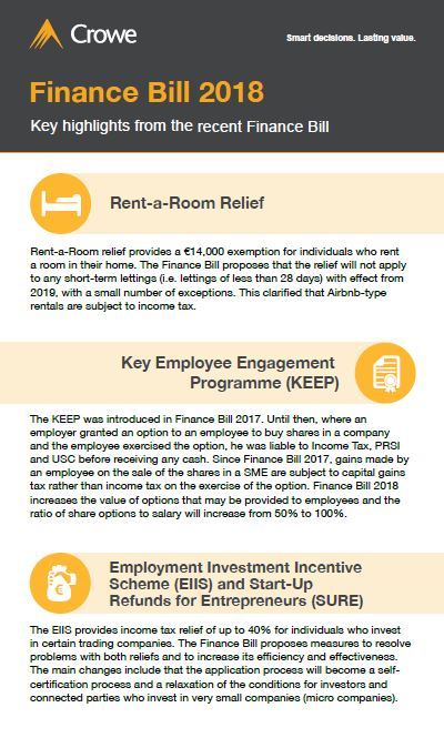 Finance Bill 2018 infographic - Crowe Ireland