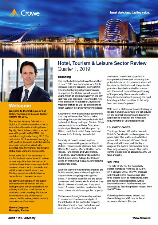 Hotel, Tourism & Leisure Sector Review - Q3 2018 - Crowe Ireland