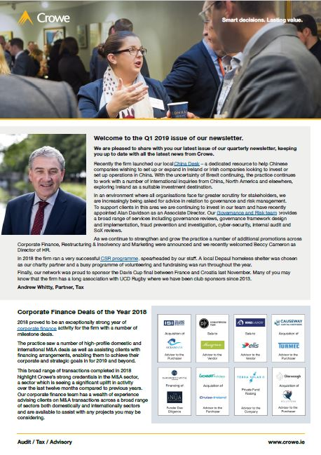 Crowe Ireland quarterly newsletter - Q1 2019