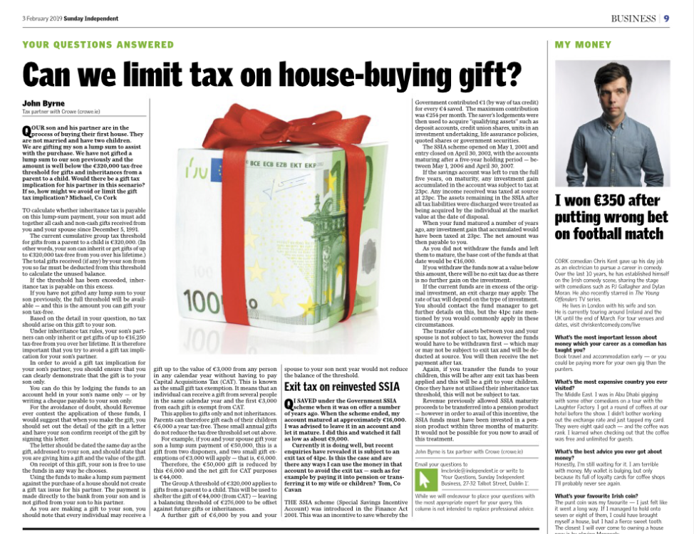 Sunday Independent personal finance questions answered - Crowe Ireland