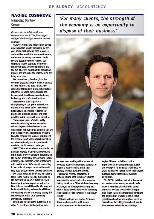 Crowe features in Business Plus 2019 accountants survey