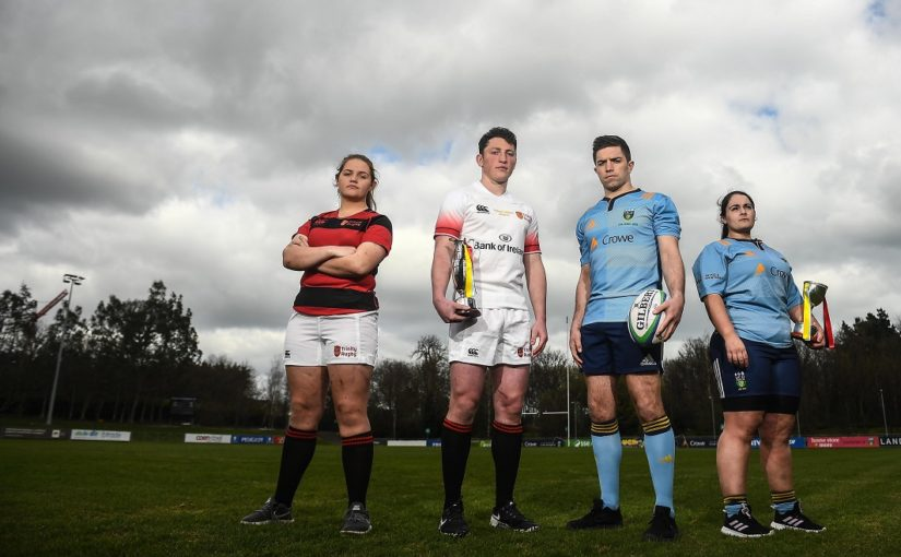 25 March 2019; In attendance, from left, Trinity captains Jane Leahy and Colm Hogan and UCD captains Alex Penny and Sarah Glynn during the UCD v Trinity 2019 Colours Photoshoot at UCD Bowl in Belfield, Dublin. Photo by David Fitzgerald/Sportsfile *** NO REPRODUCTION FEE ***