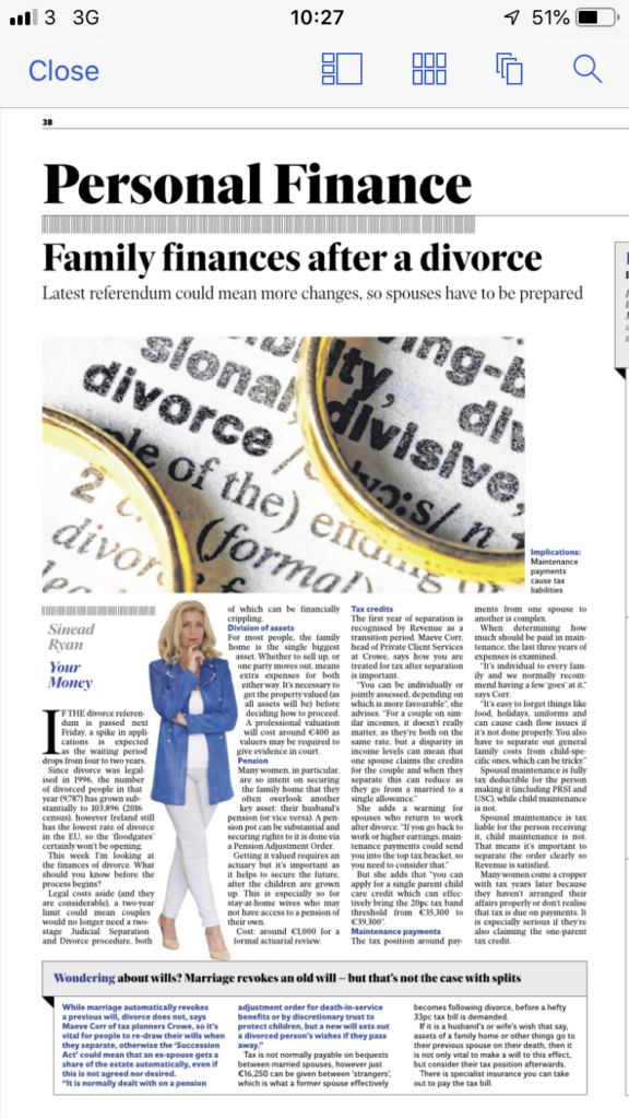 Separation & Divorce - tax implications - Crowe Ireland