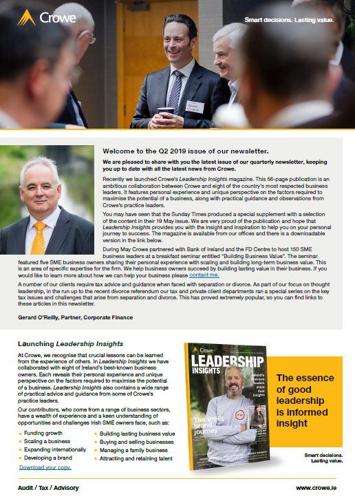 Crowe Ireland Client Newsletter – Q2 2019