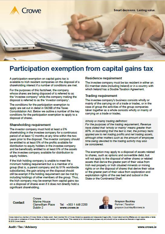 participation exemption from capital gains tax - Crowe Ireland