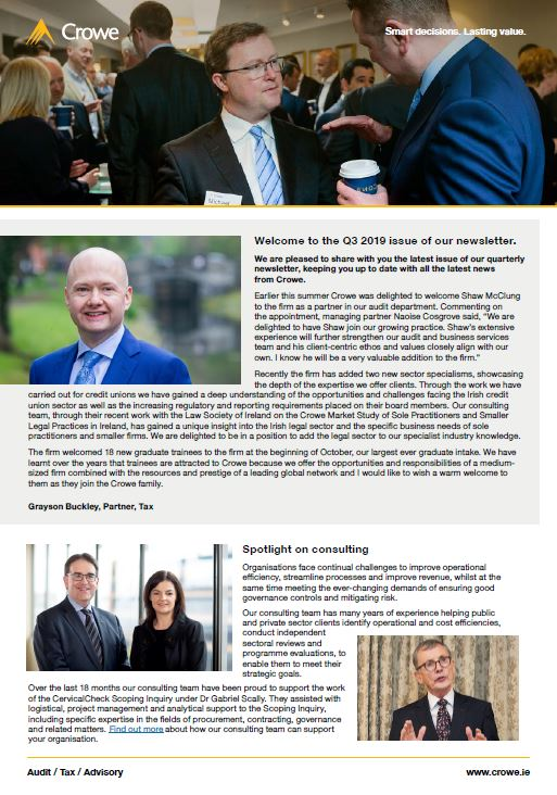 Crowe Ireland newsletter Q3 2019