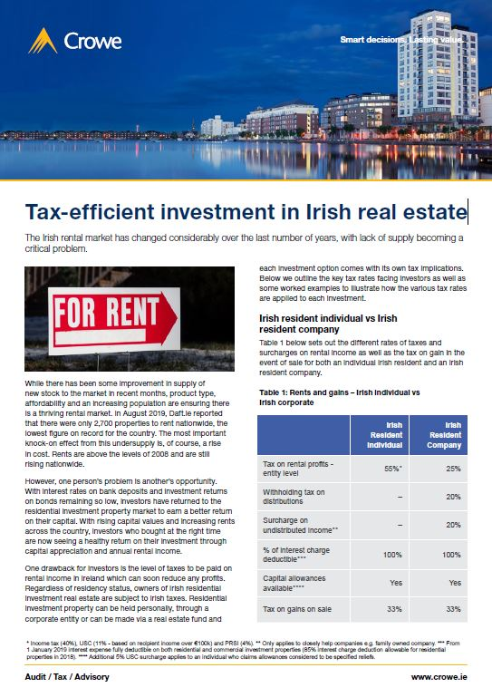 Tax-efficient investment in Irish real estate - Crowe Ireland