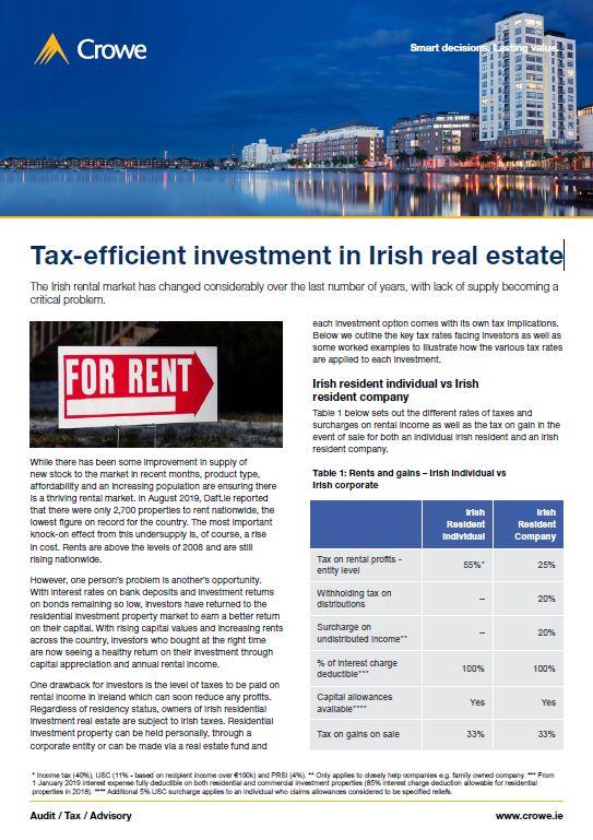 Tax-efficient investment in Irish real estate - Crowe Ireland